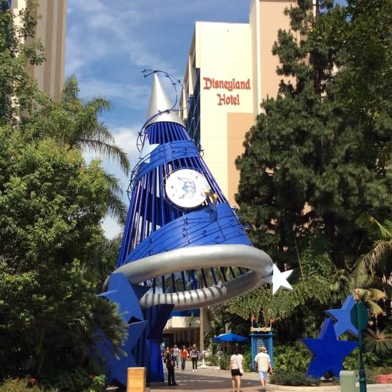 sorcerer's hat outside of the disneyland hotel and disneyland