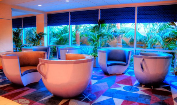 The seating area at The Disneyland Hotel