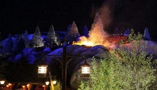A fire at Seven Dwarfs Mine Train
