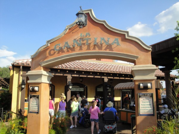 La Cantina at EPCOT. They have great Mexican food and nice inside seating.