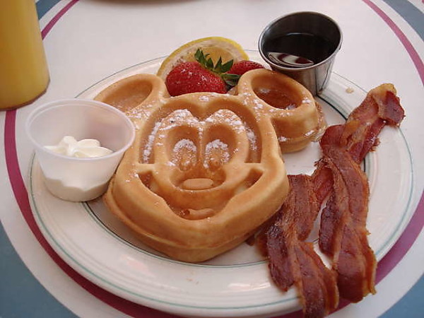 The Mickey Waffle breakfast meal