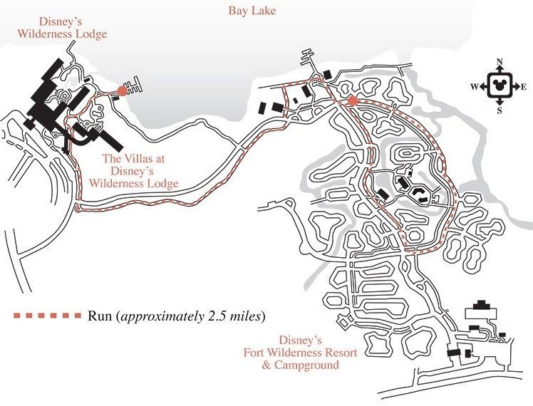 """Running at Disney's Wilderness Lodge map"""