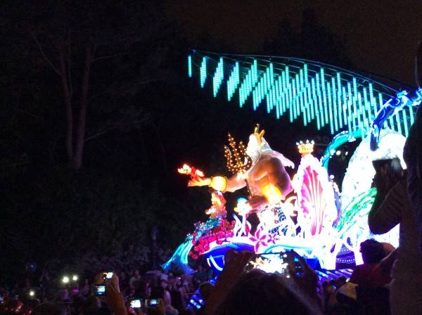 Little Mermaid float in the Paint the night parade