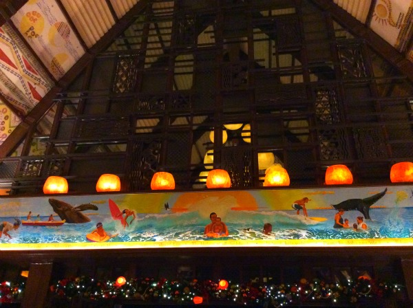 aulani lobby with whales