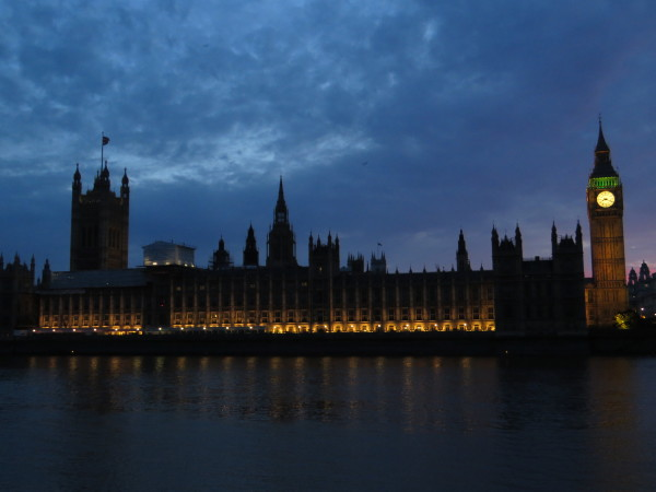 Big Ben and The Parliament Building at Night from the Hungerford Bridge