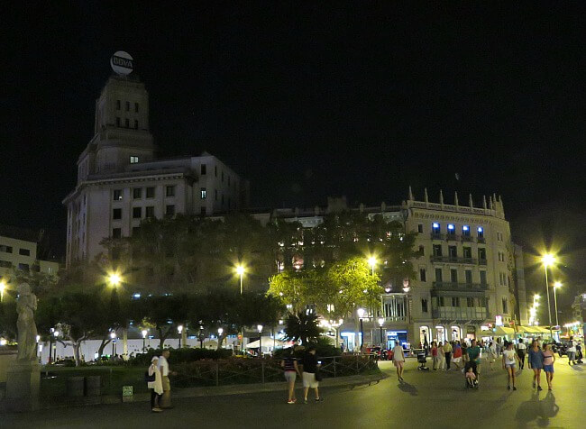 Placa de Catalunya Barcelona at Night Photos