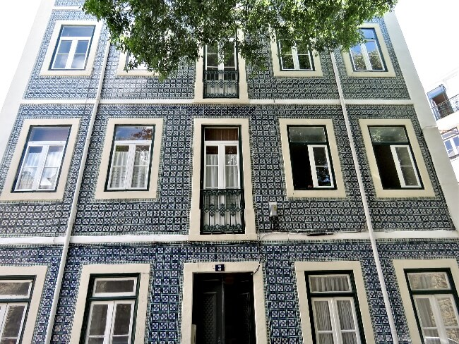 Tile facade in Alfama, Lisbon, Portugal.  #travel #Alfama #Lisbon #Lisboa #Portugal
