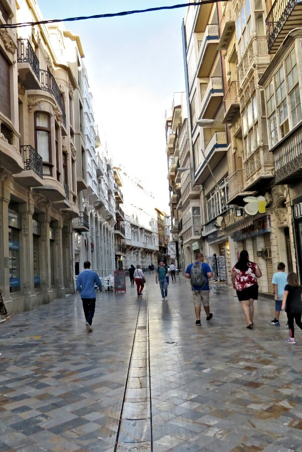 Marble, pedestrian only Calle Mayor in Cartagena, Spain #travel #Spain #Cartagena #cruise